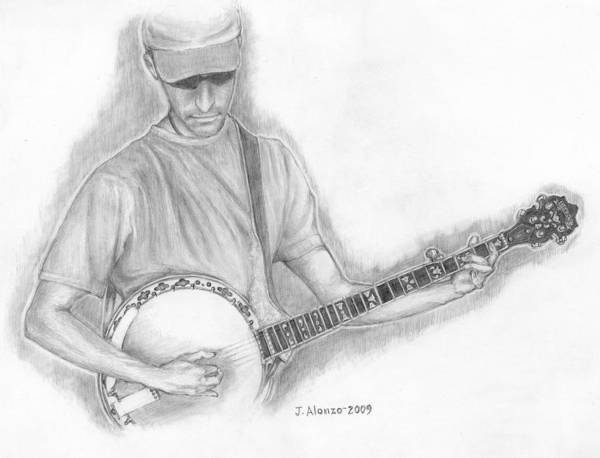 Alonzo Drawing - Banjo by Jesse Alonzo