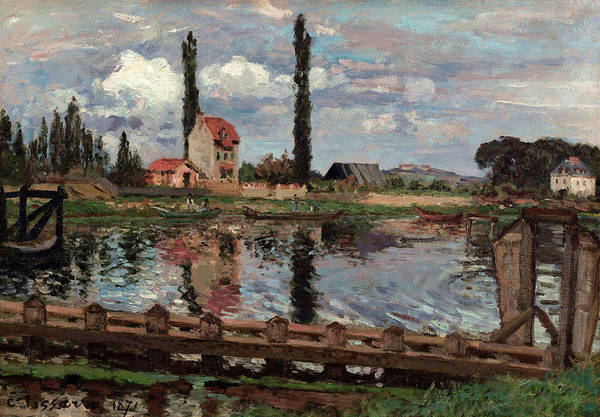 River Seine Painting - Banks Of The Seine At Port Marly by Camille Pissarro