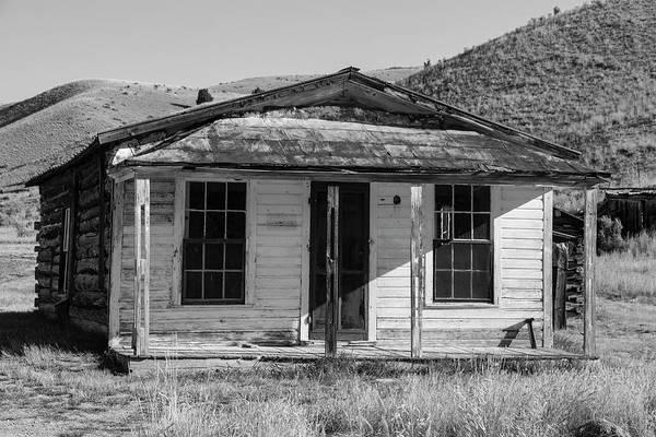 Photograph - Bannack House On The Hill Bw by Teresa Wilson