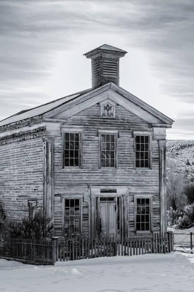 Photograph - Bannack Schoolhouse And Masonic Temple Monochrome by Teresa Wilson