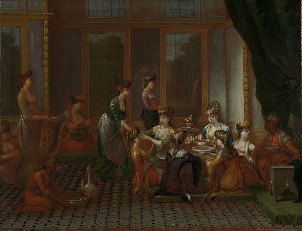 Lady In Waiting Painting - Banquet Of Distinguished Turkish Women by Jean Baptiste Vanmour