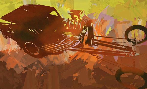 Digital Art - Bantam Dragster Pop Orange by David King