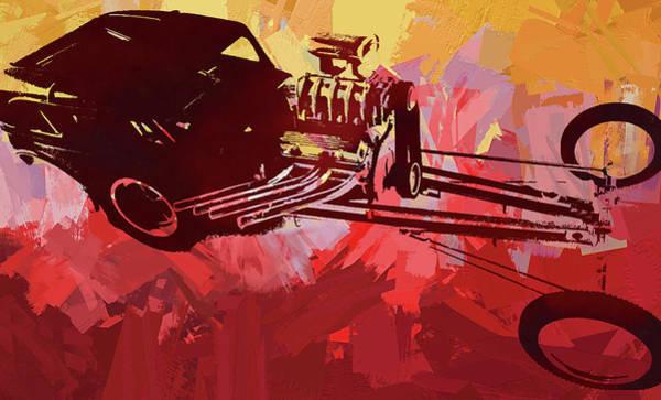 Digital Art - Bantam Dragster Pop Red by David King