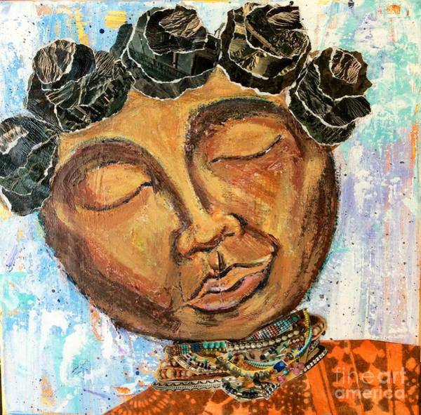 Kenya Mixed Media - Bantu Knots by Kenya Davis