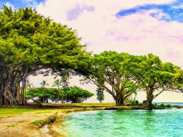 Painting - Banyan Trees At Reeds Bay Hilo by Dominic Piperata