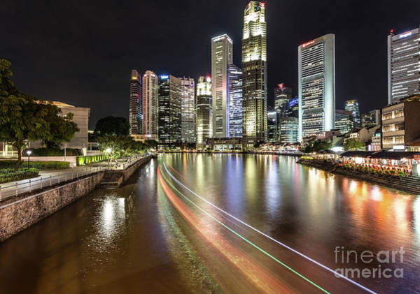 Photograph - Baot On Singapore River At Night by Didier Marti