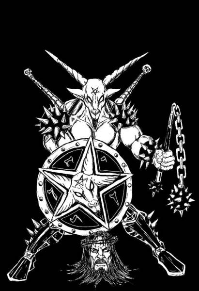Demonic Drawing - Baphomet Mace Weilder Black by Alaric Barca