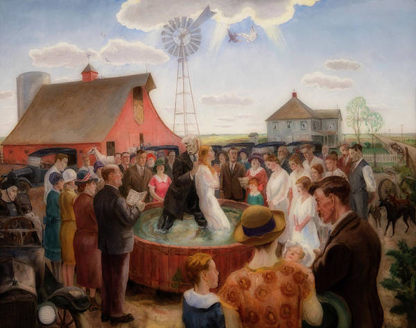 Farmstead Painting - Baptism In Kansas, 1928 by John Steuart Curry