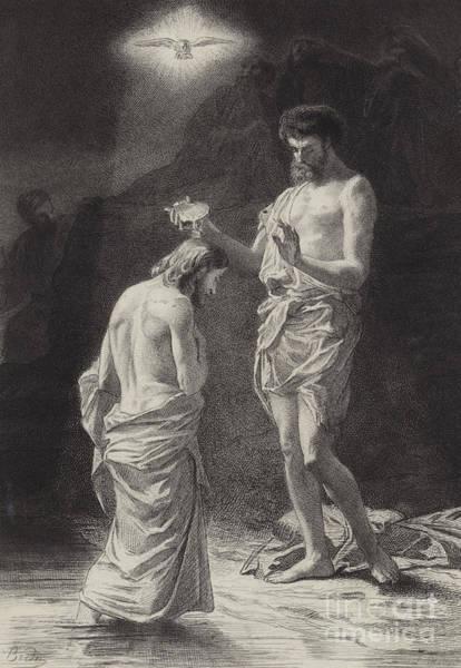 Gospel Drawing - Baptism Of Christ  Illustration For The Gospel According To Saint Matthew  by Albert Robida