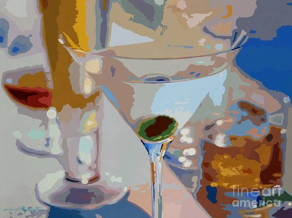 Martini Glasses Painting - Bar Drinks by David Lloyd Glover