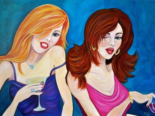 Flirtatious Painting - Bar Flirts by Debi Starr