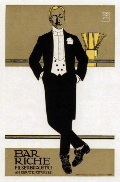 Product Mixed Media - Bar Riche - Gentleman In Tuxedo - Vintage Advertising Poster by Studio Grafiikka
