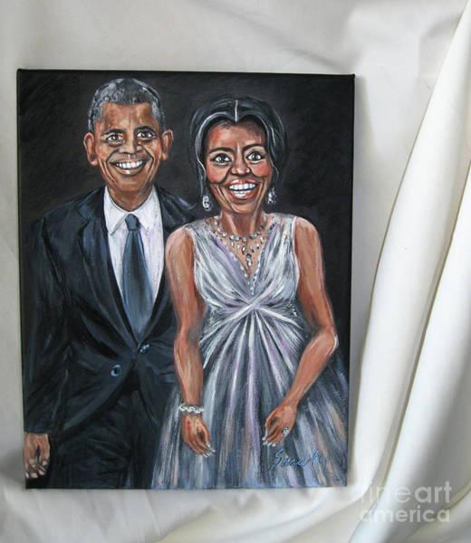 Painting - Barack And Michelle Obama. Portrait. Art 2016 by Oksana Semenchenko