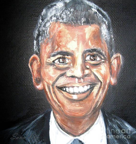 Painting - Barack Obama. Portrait. Painting by Oksana Semenchenko