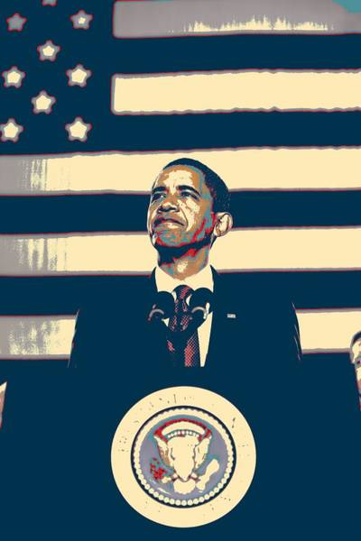 Barack Obama Painting - Barack Obama With American Flag 4 by Celestial Images