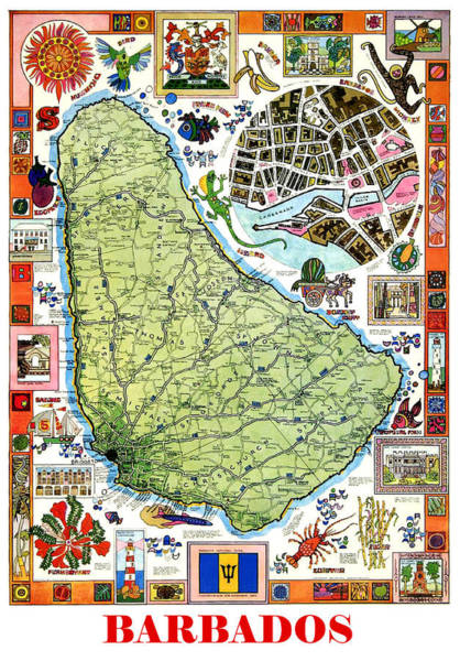 Wall Art - Painting - Barbados Map With Legends by Long Shot