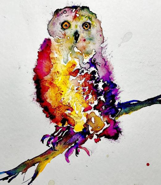 Owl Painting - Barbara by Julia S Powell