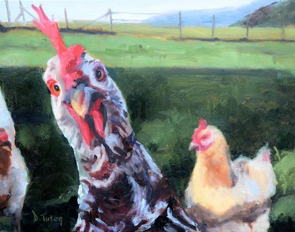 Painting - Barbara The Chicken by Donna Tuten