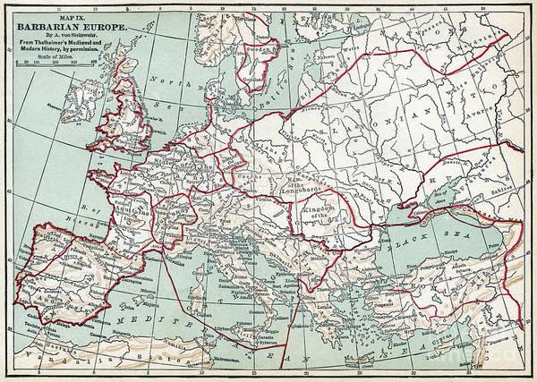 Wall Art - Drawing - Barbarian Europe Map.  by Granger