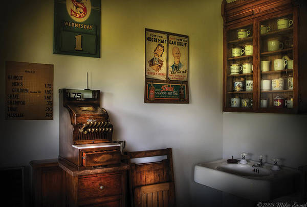 Photograph - Barber - The Cash Register  by Mike Savad