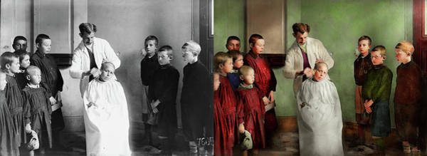 Photograph - Barber - Haircut Day 1918 - Side By Side by Mike Savad