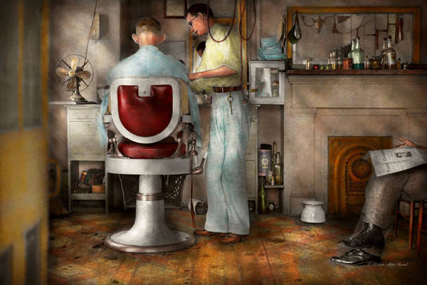 Photograph - Barber - Our Family Barber 1935 by Mike Savad