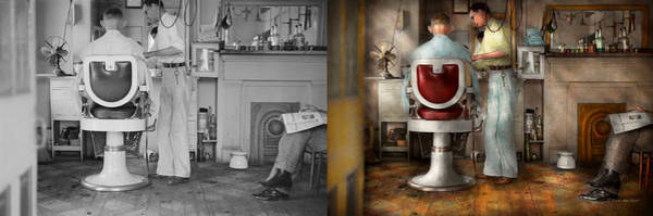 Wall Art - Photograph - Barber - Our Family Barber 1935 - Side By Side by Mike Savad