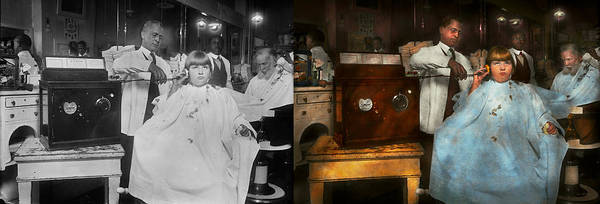 Wall Art - Photograph - Barber - Portable Music Player 1921 - Side By Side by Mike Savad