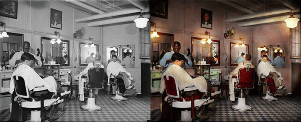 Photograph - Barber - Senators-only Barbershop 1937 - Side By Side by Mike Savad
