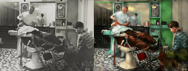 Wall Art - Photograph - Barber - Shave - Pennepacker's Barber Shop 1942 - Side By Side by Mike Savad