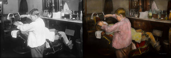 Wall Art - Photograph - Barber - Shaving - Faith In A Child - 1917 - Side By Side by Mike Savad
