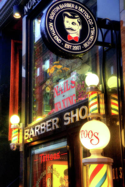 Photograph - Barber Shop - Tattoo Shop - North End - Boston by Joann Vitali