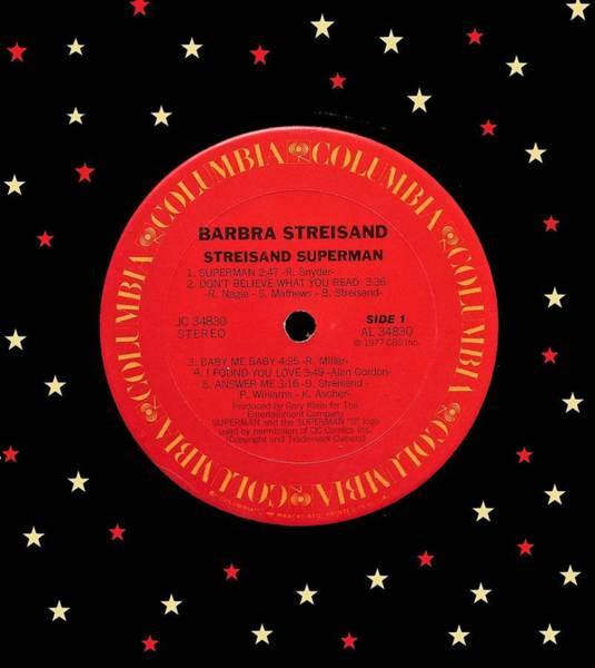Wall Art - Digital Art - Barbra Streisand Superman Lp Label by Doug Siegel