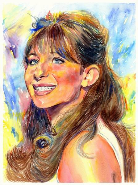 Wall Art - Painting - Barbra Streisand Young Portrait by Suzann Sines