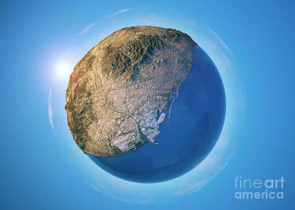 Little Planet Digital Art - Barcelona 3d Little Planet 360-degree Sphere Panorama by Frank Ramspott