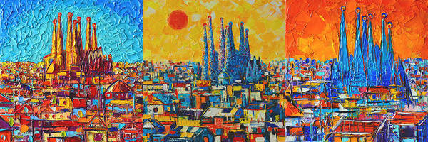 Painting - Barcelona Abstract Cityscape Triptych Gaudi's Sagrada Familia by Ana Maria Edulescu