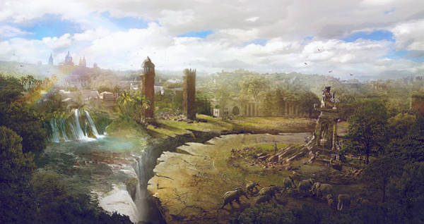 Dark Green Wall Art - Painting - Barcelona Aftermath La Placa Espanya by Guillem H Pongiluppi