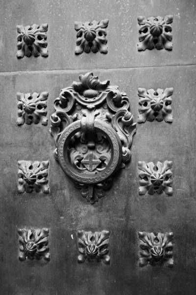 Photograph - Barcelona Cathedral Door Barcelona Spain Black And White by Toby McGuire