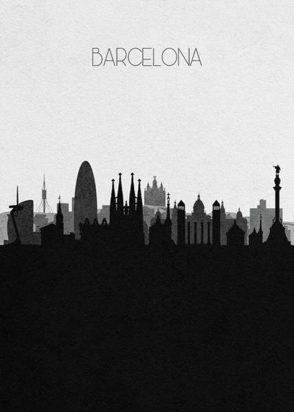Monument Drawing - Barcelona Cityscape Art by Inspirowl Design