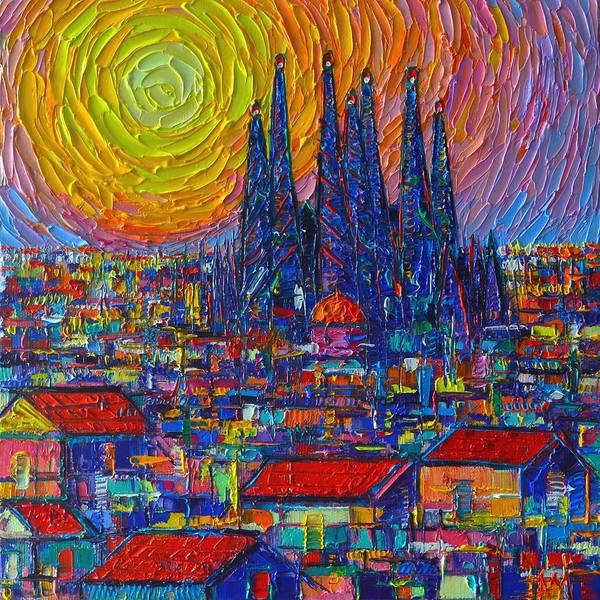 Wall Art - Painting - Barcelona Colorful Sunset Over Sagrada Familia Abstract City Knife Oil Painting Ana Maria Edulescu by Ana Maria Edulescu