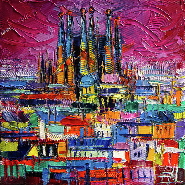 Wall Art - Painting - Barcelona Colors Sagrada Familia By Night Modern Impressionist Stylized Cityscape by Mona Edulesco