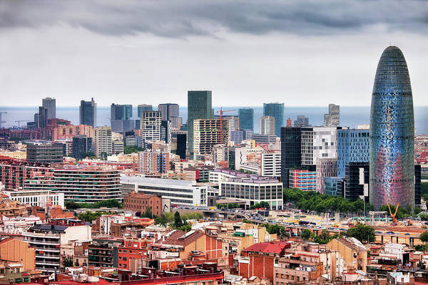 Financial Centre Photograph - Barcelona Downtown City Skyline by Artur Bogacki