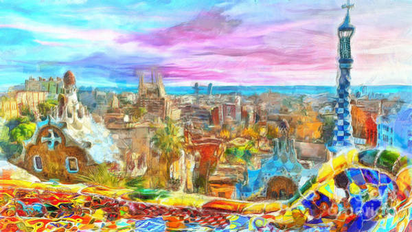 Wall Art - Painting - Barcelona From Park Guell  by Stefano Senise