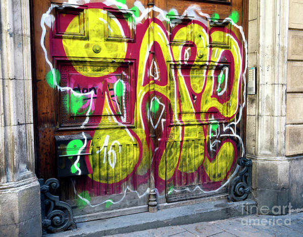Photograph - Barcelona Funky Door by John Rizzuto