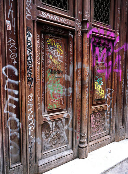 Photograph - Barcelona Graffiti Door by John Rizzuto