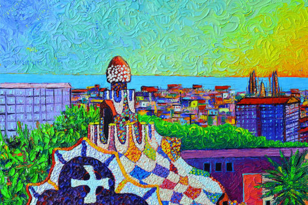 Painting - Barcelona Park Guell Sunrise Impression Textural Impasto Palette Knife Painting By Ana Maria Edulesu by Ana Maria Edulescu