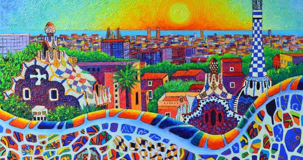 Wall Art - Painting - Barcelona Park Guell Sunrise Modern Impressionism Palette Knife Oil Painting By Ana Maria Edulescu by Ana Maria Edulescu