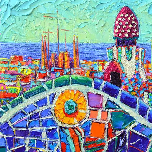 Painting - Barcelona Sagrada Familia From Park Guell Impasto Textural Impressionist Palette Knife Oil Painting by Ana Maria Edulescu