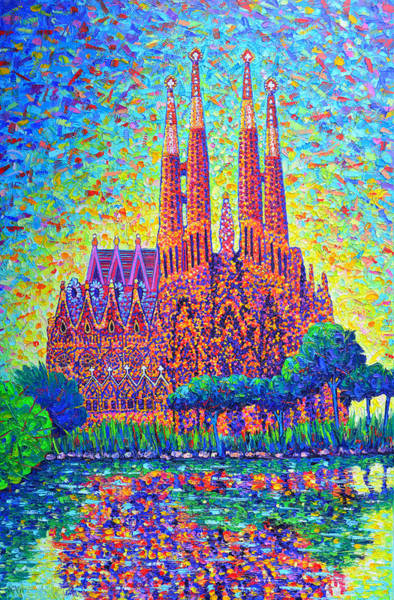 Painting - Barcelona Sagrada Familia Modern Impressionism Palette Knife Oil Painting By Ana Maria Edulescu by Ana Maria Edulescu