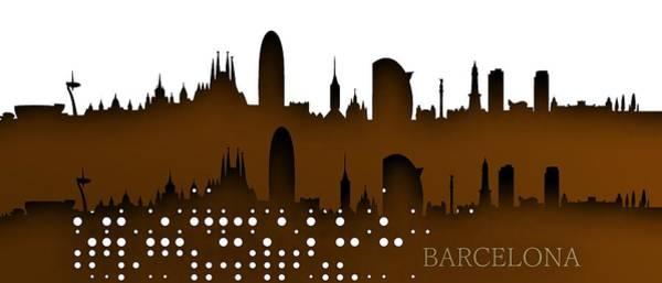 Digital Art - Barcelona Skyline by Alberto RuiZ
